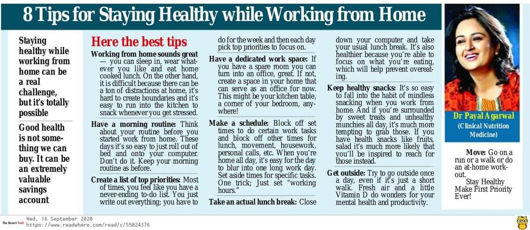 42Tips For Staying Healthy While Working From Home