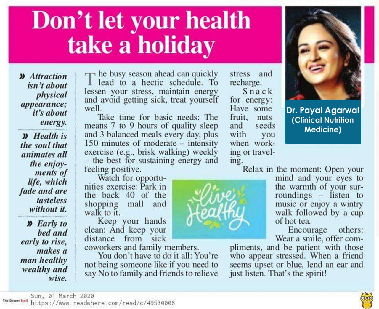 Don't Take Your Health Take A Holiday