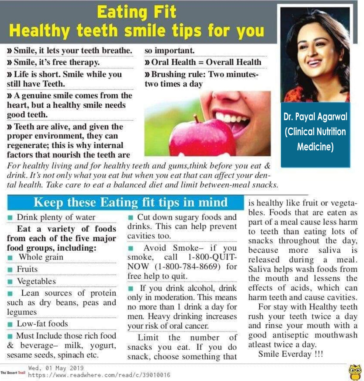 Eating fit - Healthy Teeth Smile Tips For You
