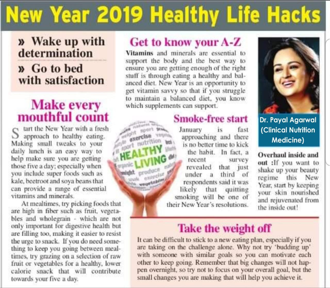 New Year 2019 Healthy Life Hacks
