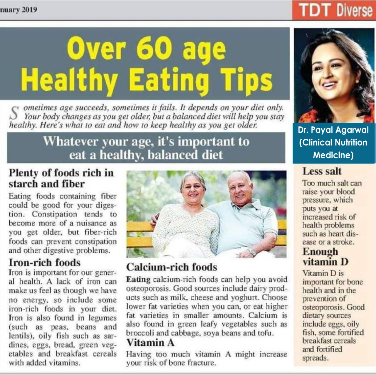 Over 60 Age - Healthy Eating Tips