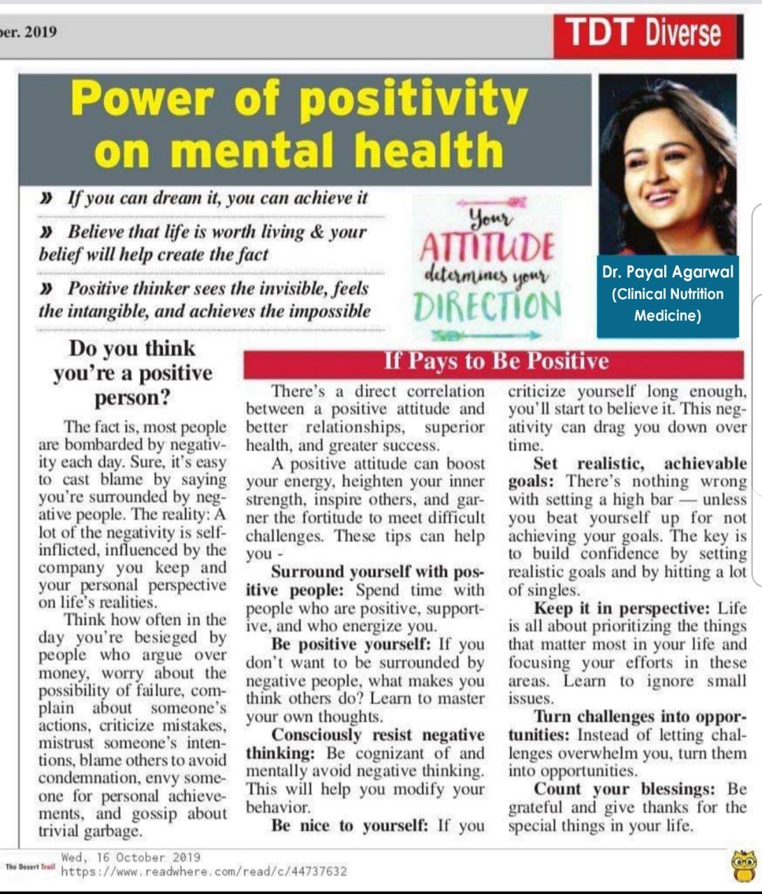 Power Of Positivity On Mental Health