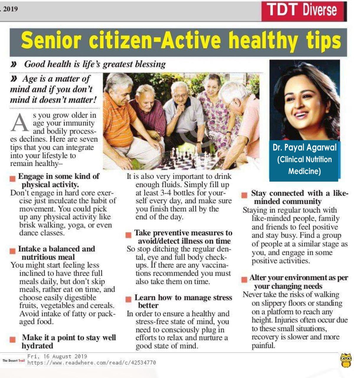 Senior Citizen - Active Healthy Tips