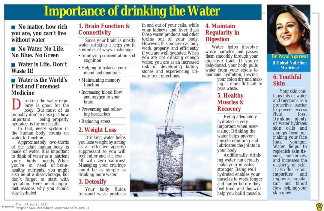 IMPORTANCE OF DRINKING THE WATER