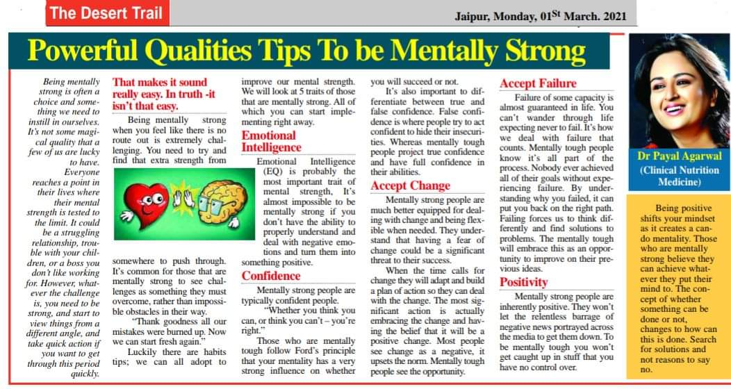 POWERFUL QUALITIES TIPS TO BE MENTALLY STRONG