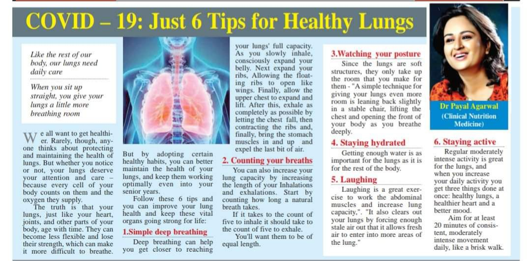 COVID - 19 - Just 6 Tips For Healthy Lungs